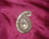 Paisley hand embroidered applique, embellishment,  in copper colour x 18