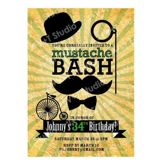 items similar to birthday invitation mustache bash party on etsy - Mustache Party Invitations