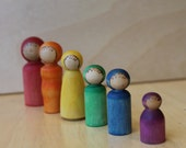 Nature's Summer Rainbow Family - Natural Wooden Toy - Set of 6