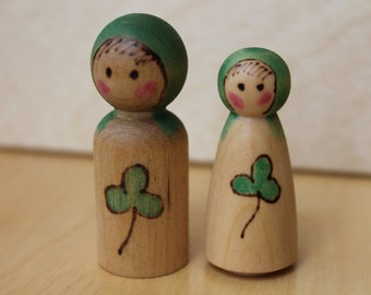 Nature's Leprechaun and Leprechaun Maiden - Natural Wooden Toy - Set of 2