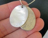 Vintage Silver and Opalescent Tag Necklace