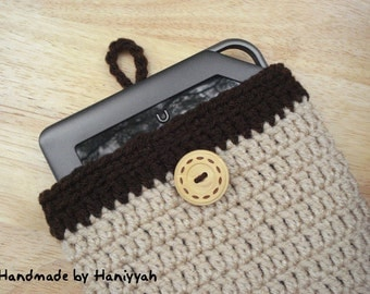 Nook Tablet or Kindle Fire Cover Handmade Crochet Brown Bag