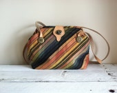 Vintage Striped Valerie purse made in Italy Earthy neutral tones