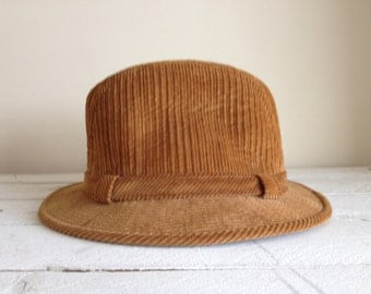 SALE Vintage Brown corduroy Fedora hat for him / fall hat / brown corduroy hat / brown hat for him / gift for him / vintage hat