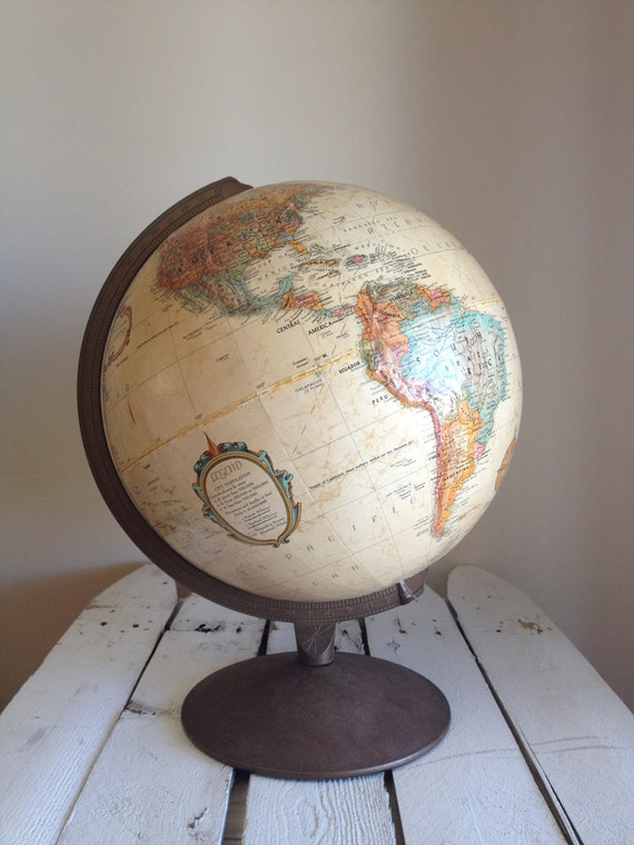 Vintage Replogle 12 inch diameter Globe world classic neutral colors post WWII