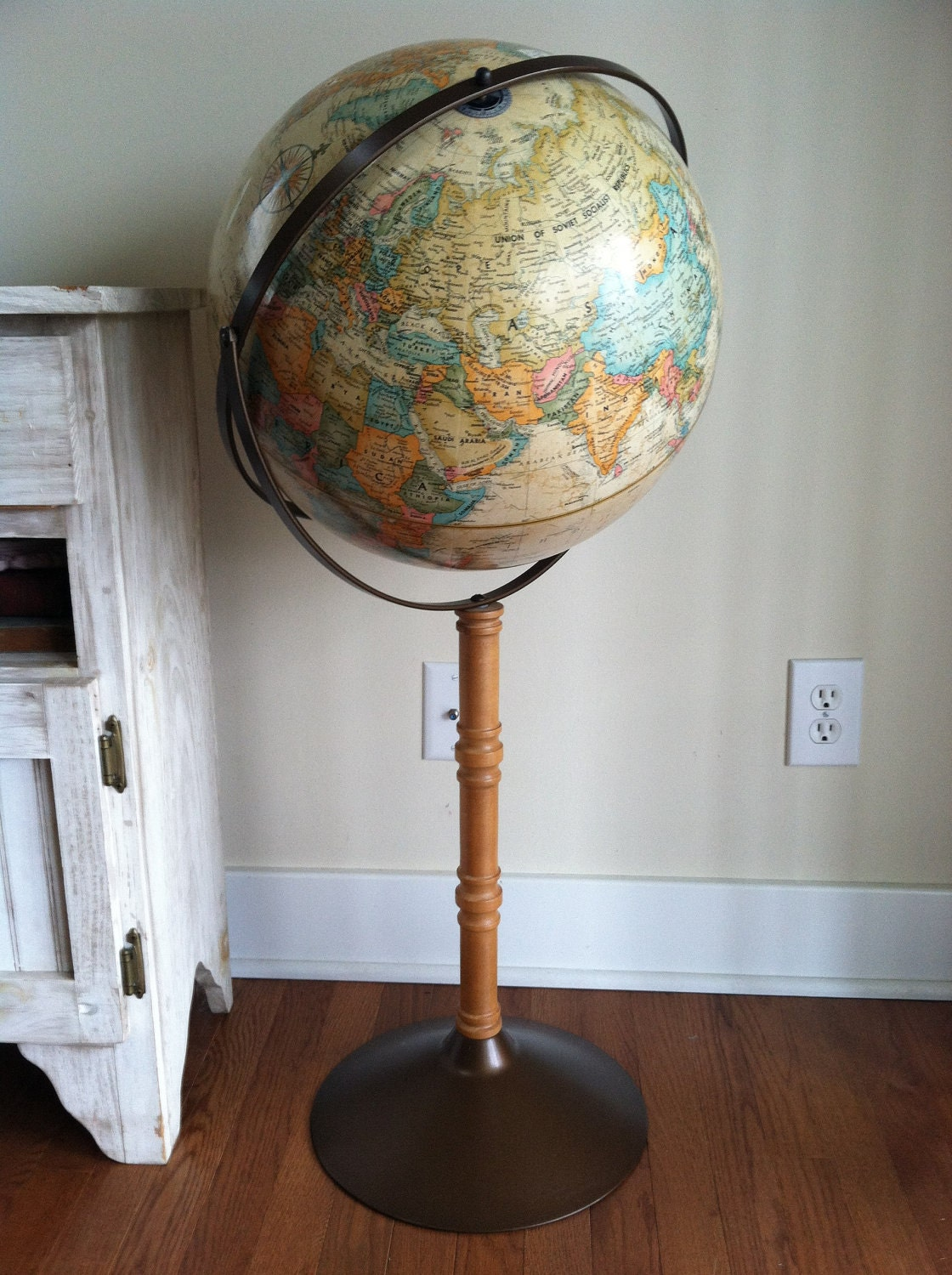 Vintage Replogle World Globe Standing Floor Globe Post Wwii