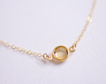 Tiny Sparkle - champagne swarovski crystal gem necklace - delicate necklace - delicate jewelry - small delicate necklace - also in Silver
