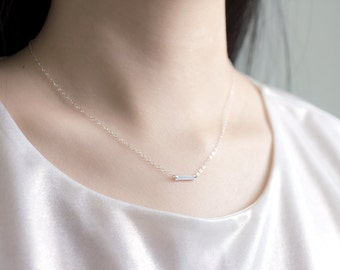 Dash in silver - petite sterling silver bar necklace - simple modern jewelry