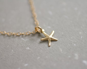 Tiny gold filled starfish necklace - petite charm - dainty everyday jewelry