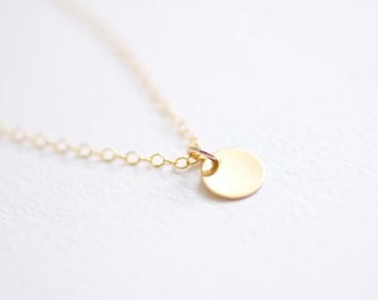 Tiny gold dot necklace - gold filled disc & chain - simple delicate jewelry