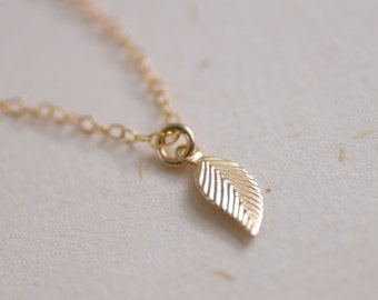 Tiny Leaf Necklace - gold filled leaf necklace - delicate gold necklace - delicate gold jewelry - small delicate necklace - simple everyday