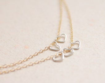 Tiny sterling silver hearts layered gold filled chain necklace - dainty modern jewelry - valentine's day jewelry