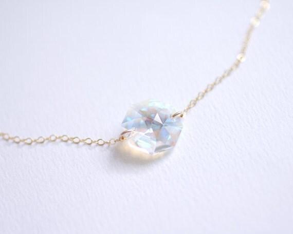 Mystic - aurora swarovski crystal gem necklace - delicate necklace - delicate jewelry - modern sparkle