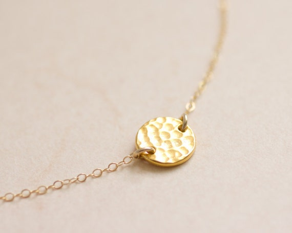 Gold dot necklace - Gold hammered coin on gold filled chain necklace - dainty everyday jewelry