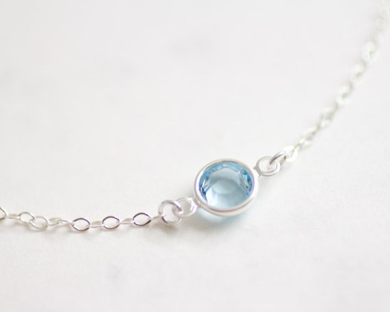 Tiny Sparkle - aquamarine swarovski crystal gem necklace - delicate necklace - delicate jewelry - small delicate necklace - also in Gold