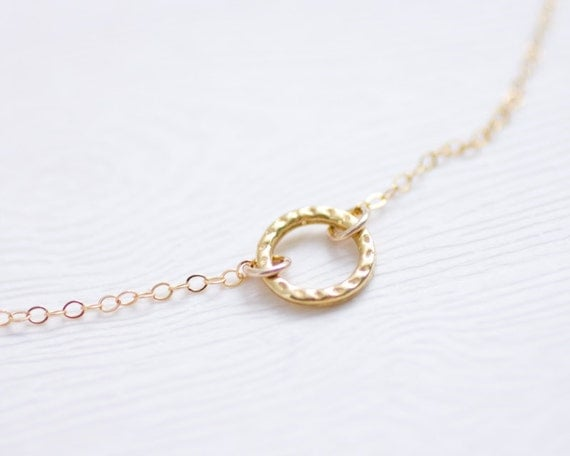 Gold hammered eternity circle ring necklace - dainty gold filled jewelry