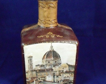 Vintage ( Fausto Corduri) Leather Decanter  Made in Italy