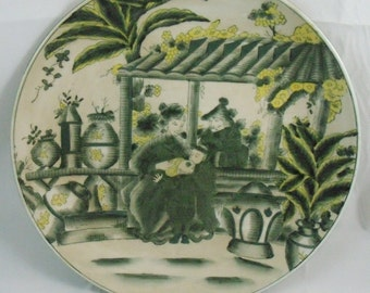 Vintage Chinese  (Oriental Accent) Hand Painted Plate