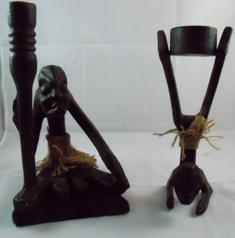 Vintage african dark wood carvings set piece