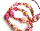 Pink crochet  necklace with acrylic hearts, plastic beads with crystals / crochet wooden beads / Sweet colors / Romantic style