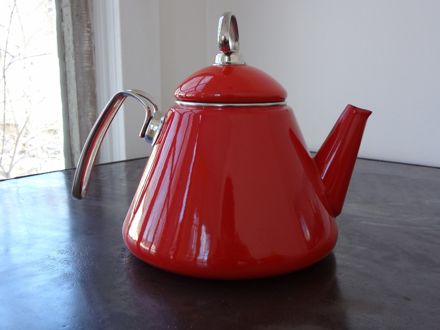 Mid century modern red and chrome enamel chantal tea pot - Chantal teapots ...
