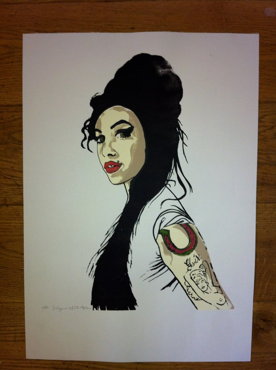 Amy Winehouse portrait, numbered 1 of 10, original signed silk screen print