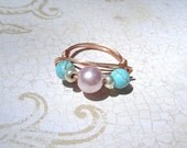 Sundance Wire wrap silver ring baby pink pearl ring Mother's day gift brides maids bridal jewelry