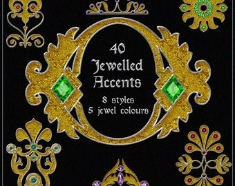 Jeweled Accents Digital Clip Art - 40 Printable Ornate Embellishments for Scrapbooking, Birthday Card Making & More