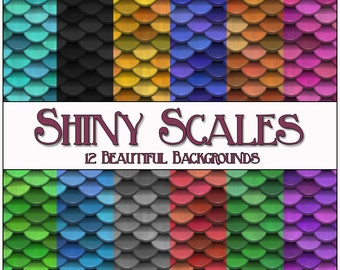 Scales Digital Papers - 12 Shiny Scales Printable Backgrounds for Scrapbooking, Birthday Card Making Instant Download