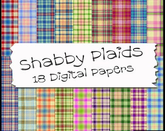 Shabby Tartan Plaids Digital Papers - 18 Printable Backgrounds for Scrapbooking, Birthday Card Making & More