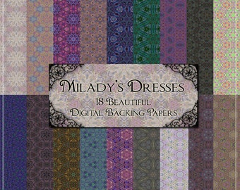 Milady's Dresses Digital Papers - 18 Vintage Fabric Style Printable Backgrounds for Scrapbooking & Crafts Instant Download
