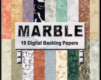 Marble Digital Papers - Realistic Printable Backgrounds for Scrapbooking, Birthday Card Making Instant Download