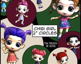 Chibi Girls Printable Digital Collage Sheet x 3 -  2 Inch Circles / Cupcake Toppers Toon Bottle Cap Jewelry Tags Chibi Circles Chibi Toons