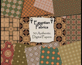 Egyptian Fabrics Digital Papers - 30 Authentic Egypt Printable Backgrounds for Scrapbooking, Birthday Card Making & More