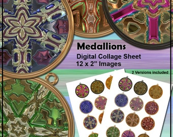 Medallion Printable Digital Collage Sheet - 2 Inch Circles -  Cupcake Toppers or Jewelry Clip Art - Instant Download