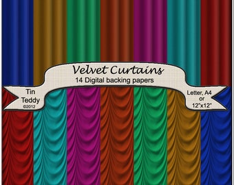 Velvet Curtains Digital Papers - Drapes Backgrounds for Scrapbooking, Card Making and other Crafts