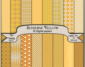 Digital Paper - Sunshine Yellow Coordinated Printable Backgrounds for your Scrapbook, Card making and Other Crafts