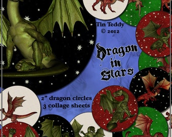 Dragon In Stars Printable Digital Collage Sheet - 12 x 2 inch Circles, 3 Different Styles - Instant Download