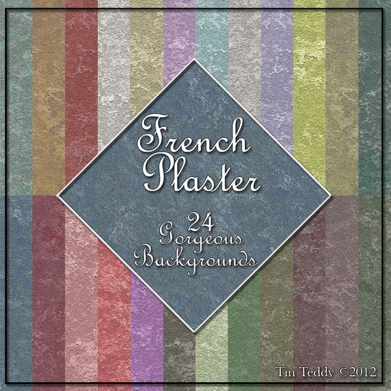 French Plaster Digital Paper 24 Shabby Style Distressed Backgrounds for Scrapbooking Birthday Card Making & Other Crafts