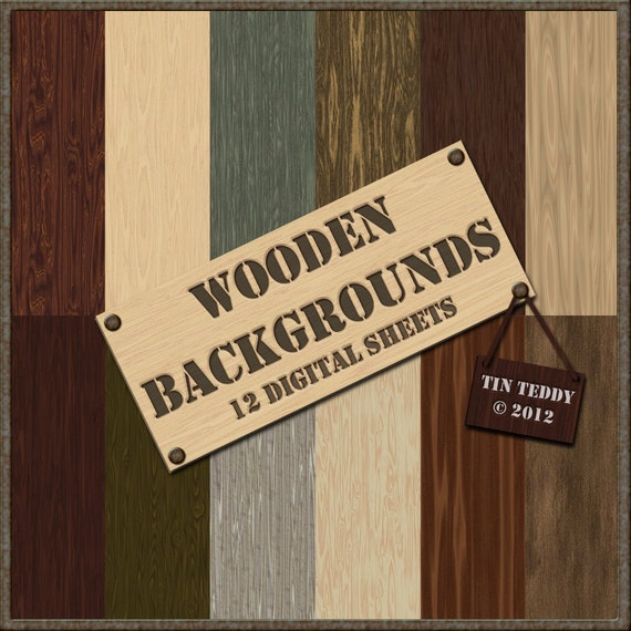 Wooden Digital Papers - 12 Wood Backgrounds for Card Making Scrapbooks and Other Crafts