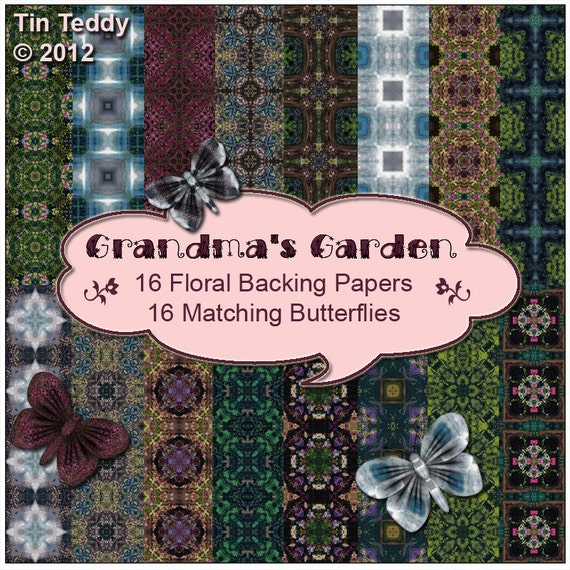 Grandma's Garden Digital Papers Vintage Style Printable Backgrounds & Butterfly Embellishments for Scrapbooking, Birthday Card Making etc