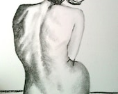 Charcoal Female Nude Seated Back Sketch - Print