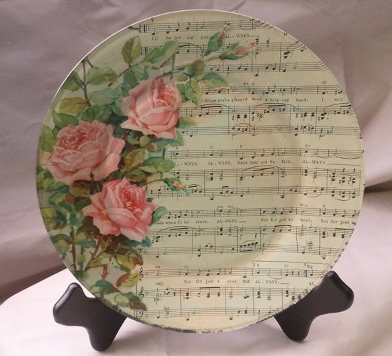 items similar to always decoupage glass plate featuring vintage sheet music on etsy. Black Bedroom Furniture Sets. Home Design Ideas