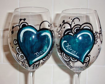 Two hearts, Handpainted Wine Glasses.