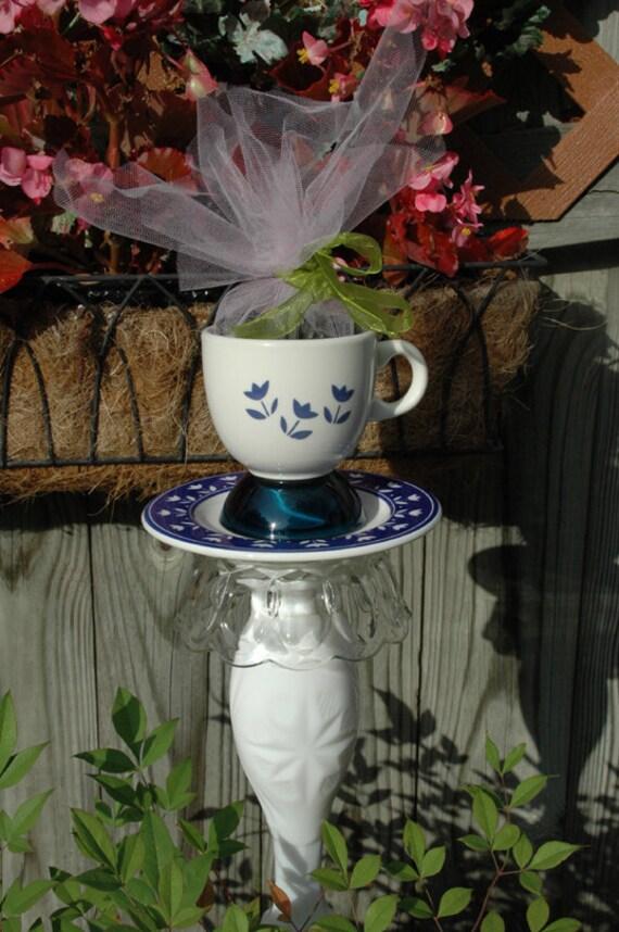 Teacup Bird Feeder Upcycled Yard Art