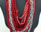 Red & white stripes, solid red cotton w/ silver color chain