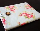 Last one Japanese Cotton ipad cover, iPad Sleeve, iPad Case, Padded, PC tablets, Japanese vintage rose fabric
