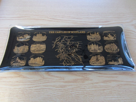 The Castles of Scotland Servng Tray  Platter Glass Tray Vintage Scottish Castles Tray with Map