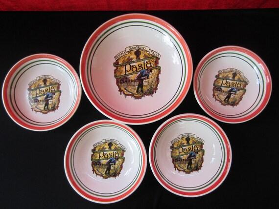 Vintage Italian Pasta Bowl Set Italy San By