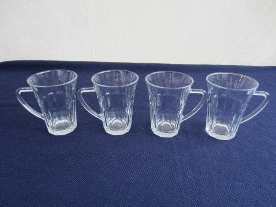 Vintage Bormioli Rocco Glass Coffee or Tea Cups  from France Set of 4 French Tempered Glasses